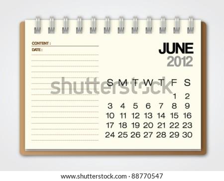 2012 Calendar June notebook vector