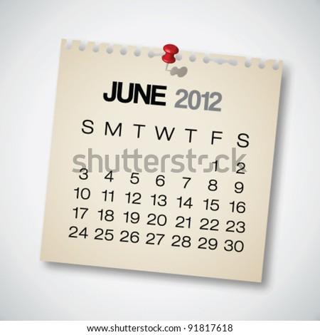 2012 Calendar June Old Torn Paper Vector