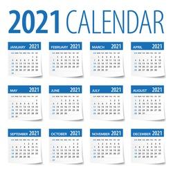 2021 Calendar Leaves Set - Vector Illustration