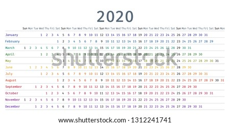 2020 calendar linear. Vector. Yearly calendar organizer. Stationery template 2020 year in simple style with months. Week starts Sunday. Landscape horizontal orientation, english. Isolated illustration