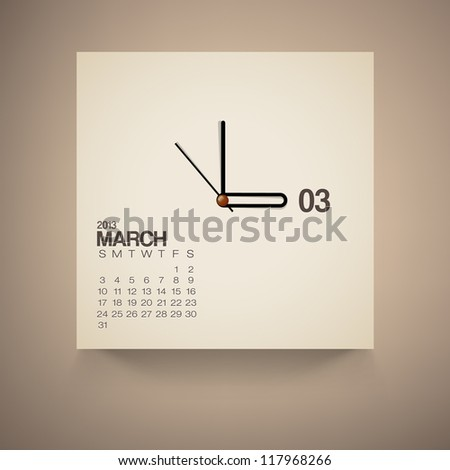 2013 Calendar March Clock Design Vector