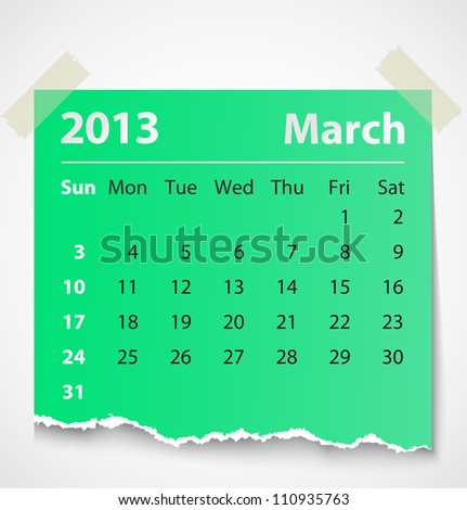 2013 calendar march colorful torn paper. Vector illustration