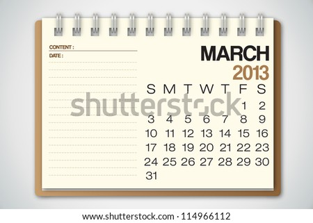 2013 Calendar March Old Torn Paper Vector