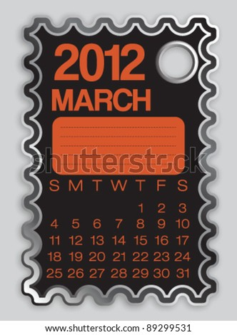 2012 Calendar March Sticker Label Vector