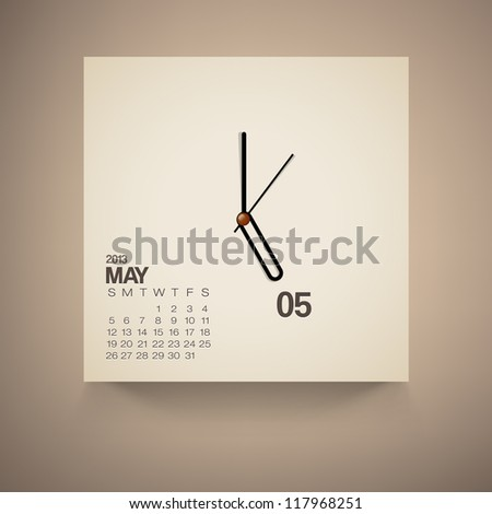 2013 Calendar May Clock Design Vector