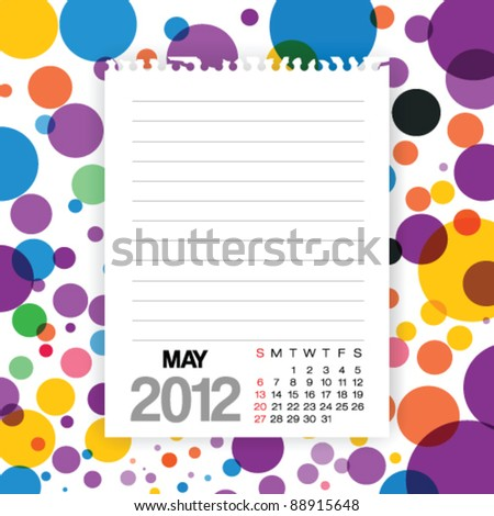 2012 Calendar May Note paper on Colorful Background Vector