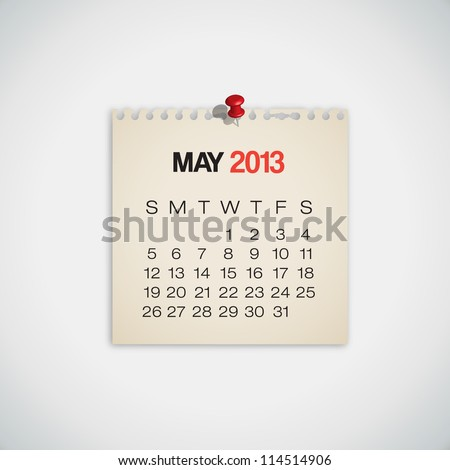 2013 Calendar May Old Torn Paper Vector