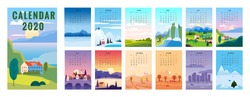 2020 Calendar minimalistic landscape natural backgrounds of four seasons. Winter wonderland, Fresh on Spring, Hot sunny day on Summer, Autumn with leaves falling. Set cartoon flat design 4 seasons