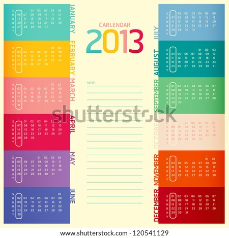 2013 calendar modern soft color,vector