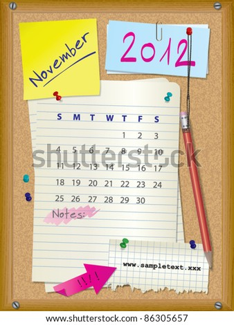 2012 calendar - month November - cork board with notes --> 2013 CALENDAR ALSO AVAILABLE IN MY PORTFOLIO