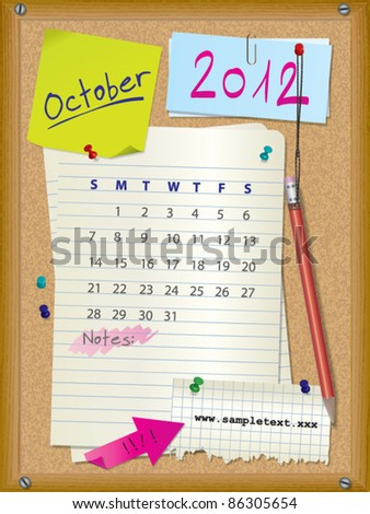 2012 calendar - month October - cork board with notes --> 2013 CALENDAR ALSO AVAILABLE IN MY PORTFOLIO