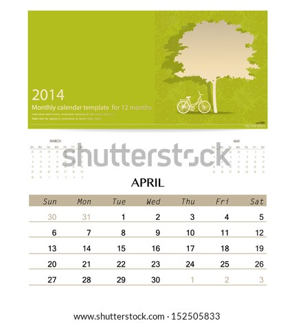 2014 calendar monthly calendar template for April Vector illustration