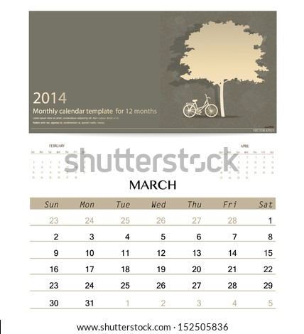 2014 calendar monthly calendar template for March Vector illustration