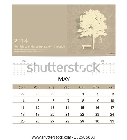 2014 calendar monthly calendar template for May Vector illustration