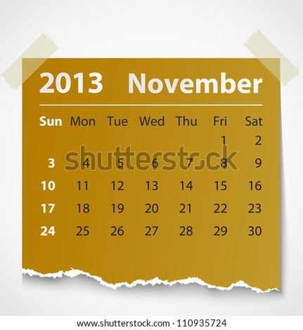 2013 calendar november colorful torn paper. Vector illustration
