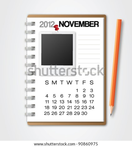 2012 Calendar November Notebook Vector - stock vector
