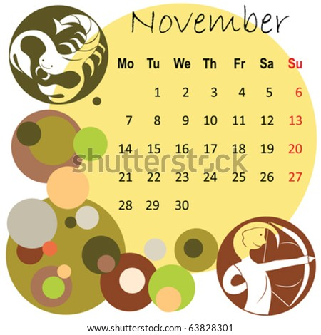 2011 calendar november with zodiac signs - stock vector