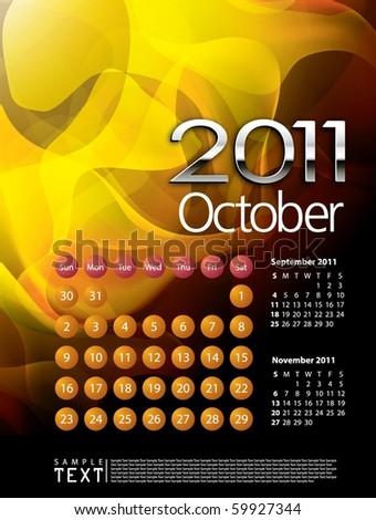 2011 Calendar October