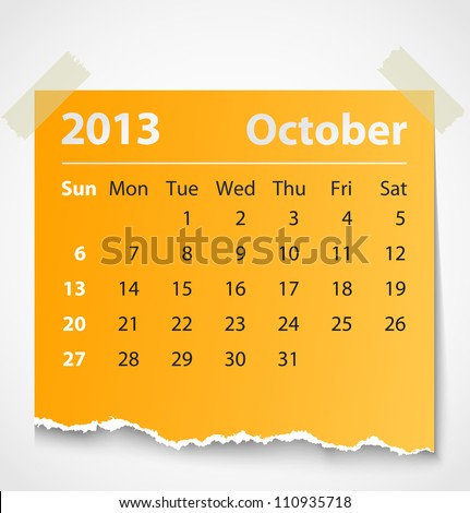 2013 calendar october colorful torn paper. Vector illustration