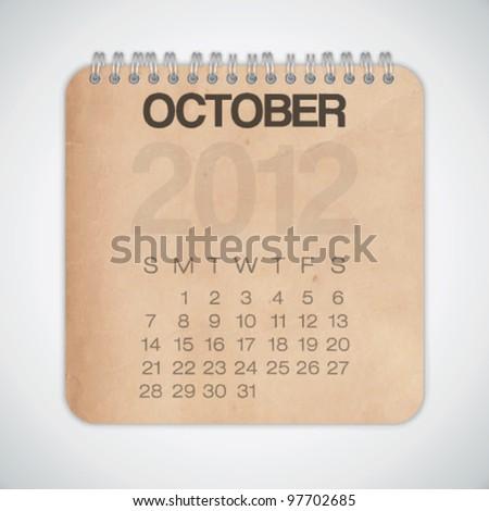 2012 Calendar October Old Texture Paper Vector