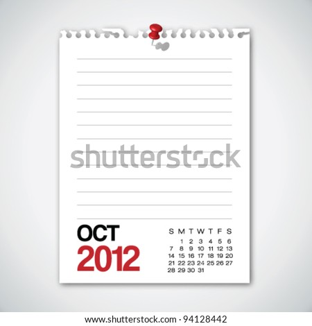 2012 Calendar October Torn Edges Paper Vector
