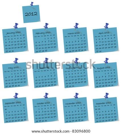 2012 calendar on blue hand written memo pads