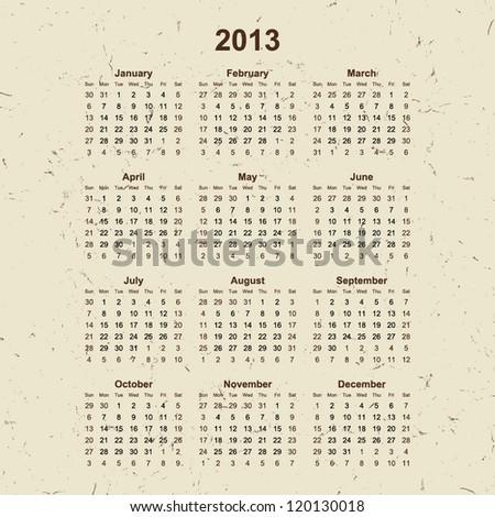2013 Calendar on grunge old paper background for your website