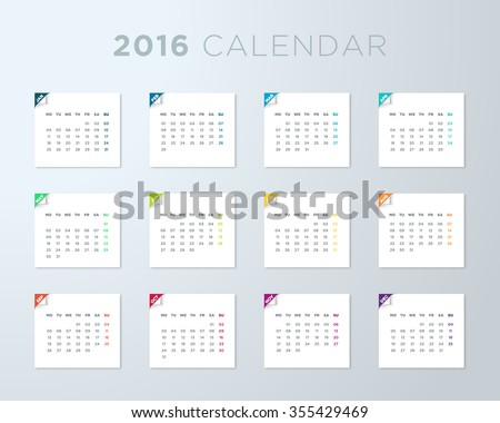 2016 calendar on white pages