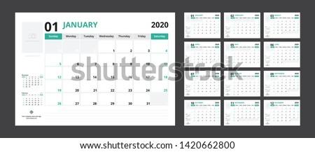 2020 calendar planner set for template corporate design week start on Sunday.