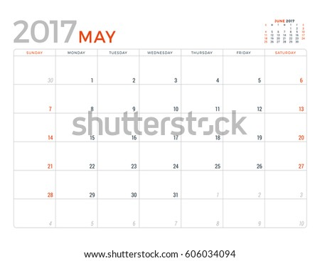 2017 Calendar Planner Vector Design Template. May. Week Starts Sunday