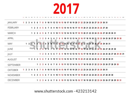 2017 Calendar, Print Template with Place for Photo, Your Logo and Text. Week Starts Sunday.  Portrait Orientation. Set of 12 Months.