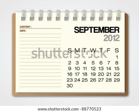 2012 Calendar September notebook vector