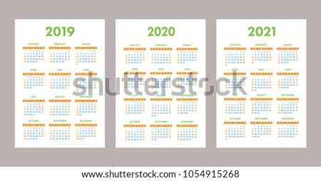2019, 2020, 2021 calendar set. Color, pocket. Week starts on Sunday 商業照片 ©