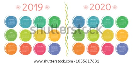 2019, 2020 calendar set. Colorful kid's sketch doodle style. Color round hand drawn frames