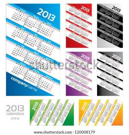 2013 calendar set in different colors