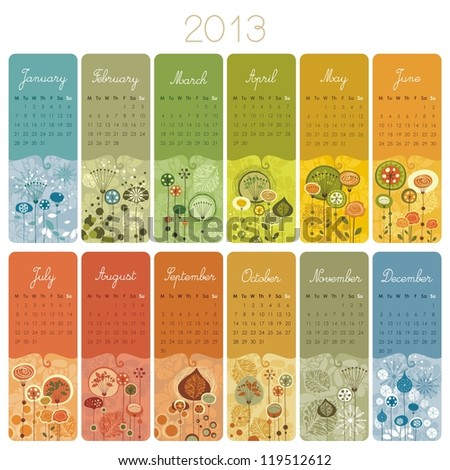 2013 Calendar set with vertical banners or cards. Weeks start with Monday.