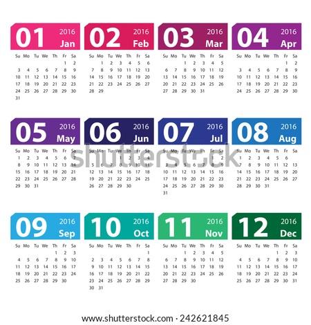 2016 Calendar Simple Design Stock Vector Illustration 242621845 ...