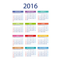 2016 calendar simple design ART vector date  template month