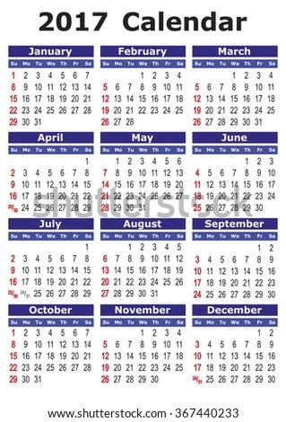 2017 calendar. Simple vector calendar for year 2017. #367440233