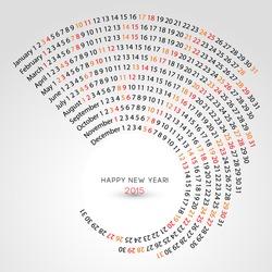 2015 calendar, spiral illustration, calendar cover template