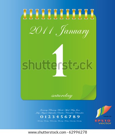 2011 calendar stand up in Green with template of month ,date and day