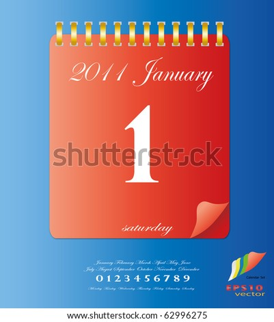 2011 calendar stand up in red with template of month ,date and day