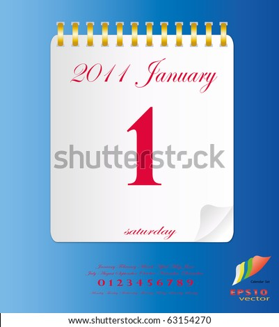2011 calendar stand up in White with template of month ,date and day