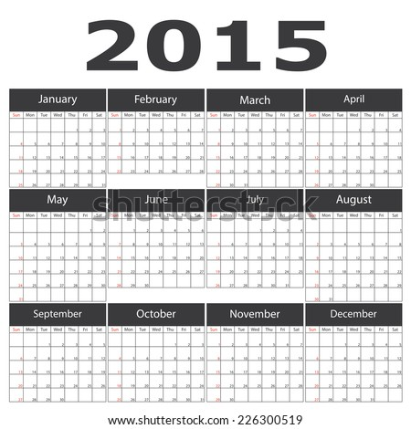 2015 calendar template brochure business design Vector illustration