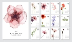 2021 calendar template on a botanical theme. Calendar design concept with abstract seasonal flowers. Set of 12 months 2021 pages. Vector illustration