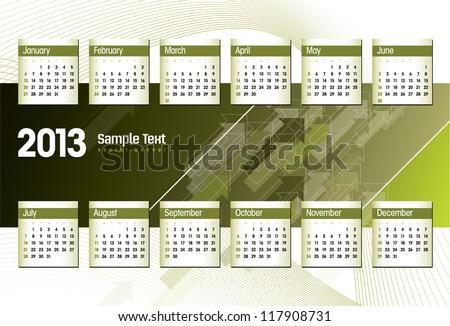 2013 Calendar. Vector. - stock vector