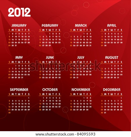 2012 Calendar. Vector Background.
