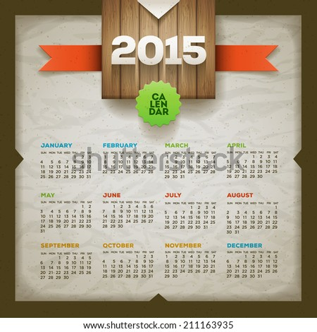 2015 calendar Vector design template Elements are layered separately