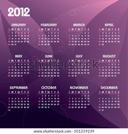 2012 Calendar. Vector Eps10.