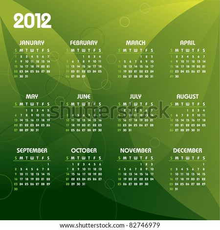 2012 Calendar. Vector. Eps10.